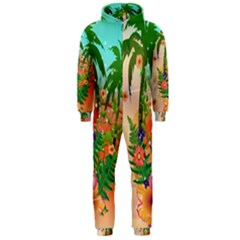 Tropical Design With Palm And Flowers Hooded Jumpsuit (Men)
