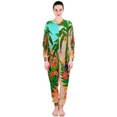 Tropical Design With Palm And Flowers OnePiece Jumpsuit (Ladies)