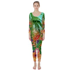 Tropical Design With Palm And Flowers Long Sleeve Catsuit