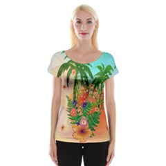 Tropical Design With Palm And Flowers Women s Cap Sleeve Top