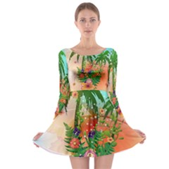 Tropical Design With Palm And Flowers Long Sleeve Skater Dress