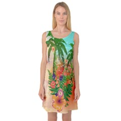 Tropical Design With Palm And Flowers Sleeveless Satin Nightdresses
