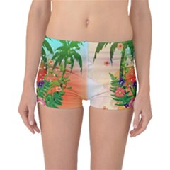 Tropical Design With Palm And Flowers Boyleg Bikini Bottoms