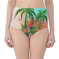 Tropical Design With Palm And Flowers High Waist Bikini Bottoms