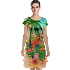 Tropical Design With Palm And Flowers Cap Sleeve Nightdresses