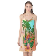 Tropical Design With Palm And Flowers Camis Nightgown