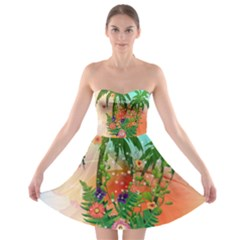 Tropical Design With Palm And Flowers Strapless Bra Top Dress