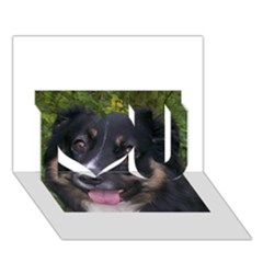 Australian Shepherd Black Tri I Love You 3D Greeting Card (7x5)