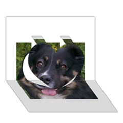 Australian Shepherd Black Tri Heart 3D Greeting Card (7x5)