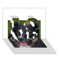 Australian Shepherd Black Tri LOVE 3D Greeting Card (7x5)