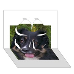 Australian Shepherd Black Tri Clover 3D Greeting Card (7x5)