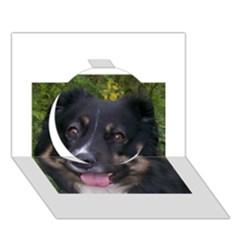 Australian Shepherd Black Tri Circle 3D Greeting Card (7x5)