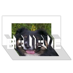 Australian Shepherd Black Tri BELIEVE 3D Greeting Card (8x4)