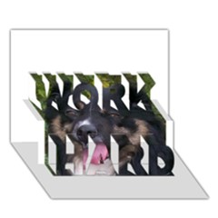 Australian Shepherd Black Tri WORK HARD 3D Greeting Card (7x5)