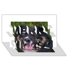 Australian Shepherd Black Tri Merry Xmas 3D Greeting Card (8x4)