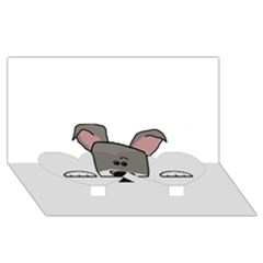 Peeping Miniature Schnauzer Twin Heart Bottom 3D Greeting Card (8x4)