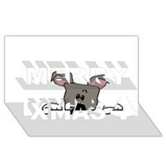 Peeping Miniature Schnauzer Merry Xmas 3D Greeting Card (8x4)