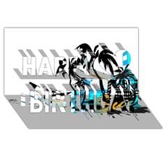 Surfing Happy Birthday 3d Greeting Card (8x4)
