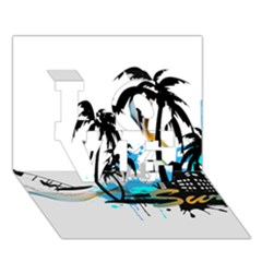 Surfing LOVE 3D Greeting Card (7x5)