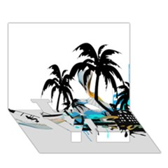Surfing Love Bottom 3d Greeting Card (7x5)