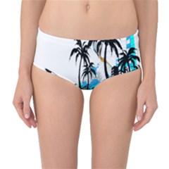 Surfing Mid-Waist Bikini Bottoms