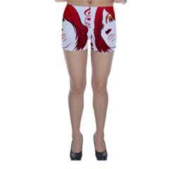 Women Face With Clef Skinny Shorts