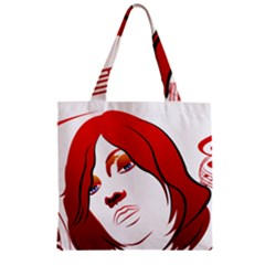 Women face with clef Zipper Grocery Tote Bags