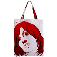Women Face With Clef Zipper Classic Tote Bags