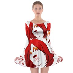 Women face with clef Long Sleeve Skater Dress