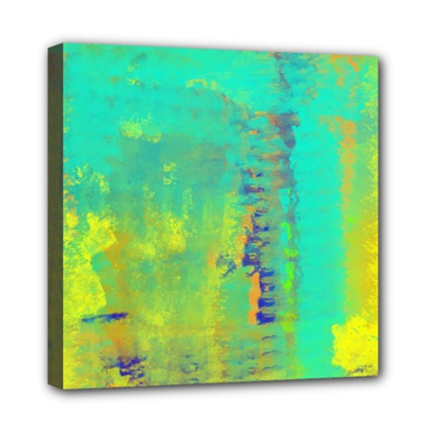 Abstract in Turquoise, Gold, and Copper Mini Canvas 8  x 8