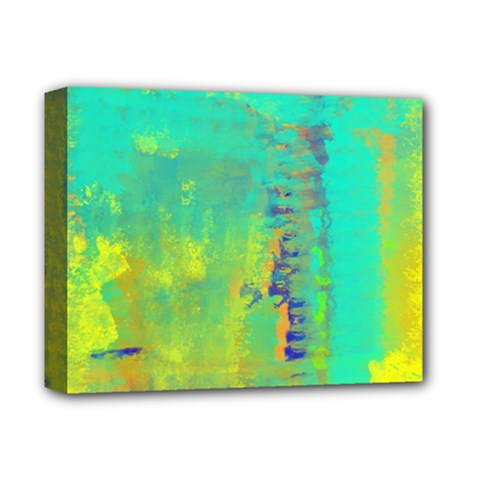 Abstract In Turquoise, Gold, And Copper Deluxe Canvas 14  X 11