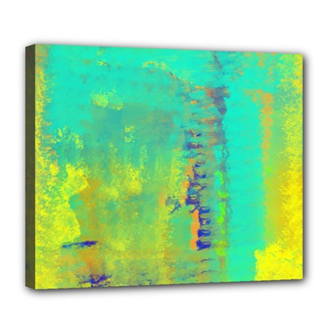 Abstract In Turquoise, Gold, And Copper Deluxe Canvas 24  X 20