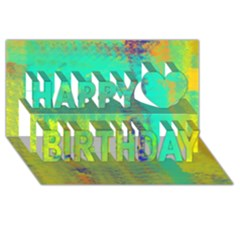 Abstract in Turquoise, Gold, and Copper Happy Birthday 3D Greeting Card (8x4)