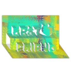 Abstract In Turquoise, Gold, And Copper Best Friends 3d Greeting Card (8x4)