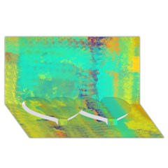 Abstract in Turquoise, Gold, and Copper Twin Heart Bottom 3D Greeting Card (8x4)