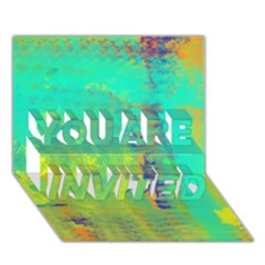 Abstract in Turquoise, Gold, and Copper YOU ARE INVITED 3D Greeting Card (7x5)