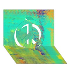 Abstract In Turquoise, Gold, And Copper Peace Sign 3d Greeting Card (7x5)