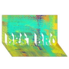 Abstract in Turquoise, Gold, and Copper BEST BRO 3D Greeting Card (8x4)