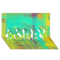Abstract In Turquoise, Gold, And Copper Sorry 3d Greeting Card (8x4)