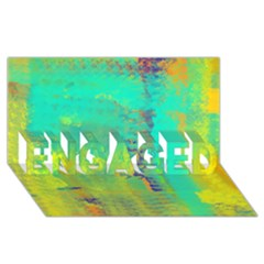 Abstract in Turquoise, Gold, and Copper ENGAGED 3D Greeting Card (8x4)