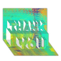 Abstract In Turquoise, Gold, And Copper Thank You 3d Greeting Card (7x5)