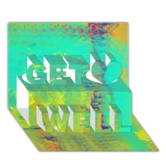 Abstract in Turquoise, Gold, and Copper Get Well 3D Greeting Card (7x5)