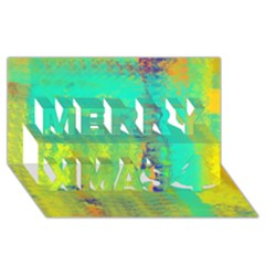 Abstract in Turquoise, Gold, and Copper Merry Xmas 3D Greeting Card (8x4)
