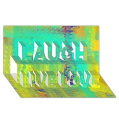 Abstract in Turquoise, Gold, and Copper Laugh Live Love 3D Greeting Card (8x4)