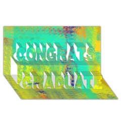 Abstract in Turquoise, Gold, and Copper Congrats Graduate 3D Greeting Card (8x4)