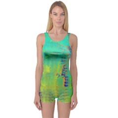 Abstract in Turquoise, Gold, and Copper Women s Boyleg One Piece Swimsuits
