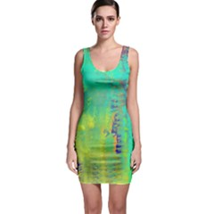 Abstract in Turquoise, Gold, and Copper Bodycon Dresses