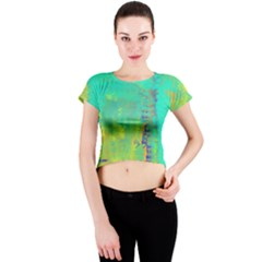Abstract in Turquoise, Gold, and Copper Crew Neck Crop Top