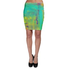 Abstract In Turquoise, Gold, And Copper Bodycon Skirts