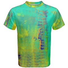 Abstract In Turquoise, Gold, And Copper Men s Cotton Tees